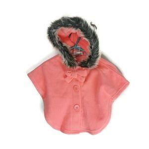Fleece Shawl / Cap with Faux Fur Hood